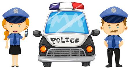 Zwei Polizeibeamte von den Polizeiwagen Illustration