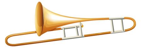 woodwind: Trumbone on white background illustration