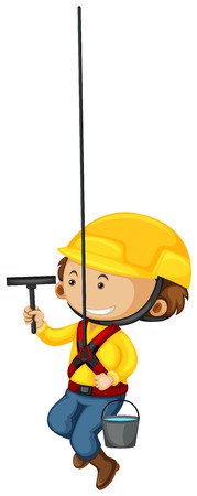 window cleaner: Window cleaner with safety equipments illustration