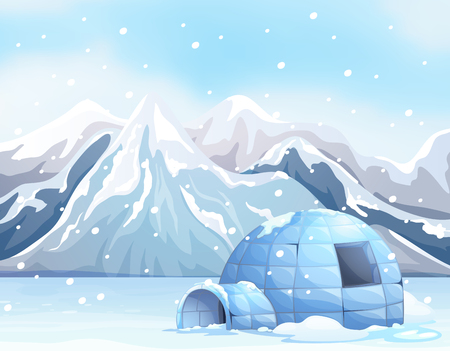Scene with igloo on snow ground illustration Illustration