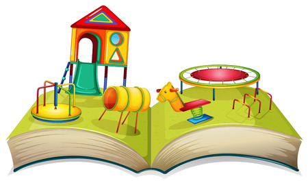 Different play stations in playground illustration