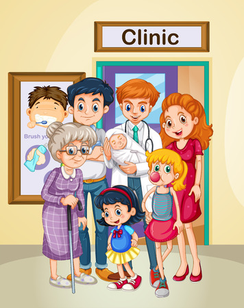 doctors and patient: Doctor and patients at clinic illustration