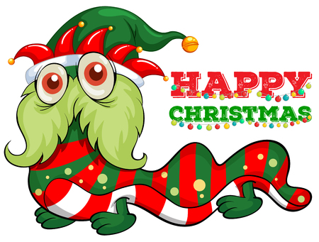 picture card: Christmas card template with monster and lights illustration Illustration