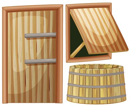 wood door: Wooden door and window illustration