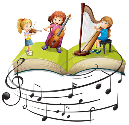 woodwind: Children playing music together illustration