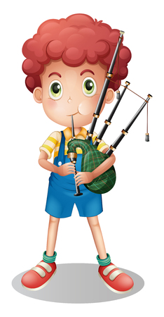 Little boy playing scottish bagpipe illustration
