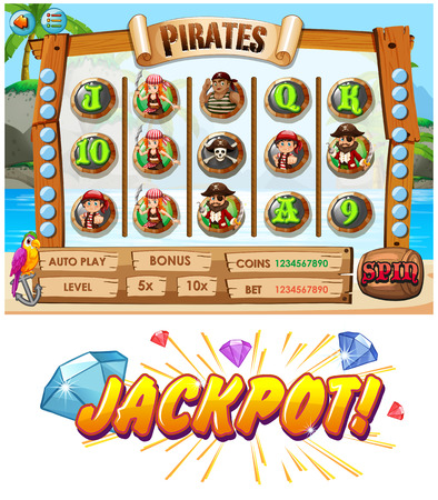 pirate crew: Game template with pirate crew characters illustration Illustration