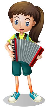 Little girl playing accordion illustration