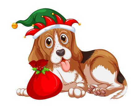 Perro de la Navidad tema del partido que lleva el sombrero de la ilustración