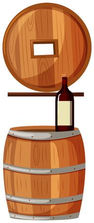 Red wine and wooden barrels illustration