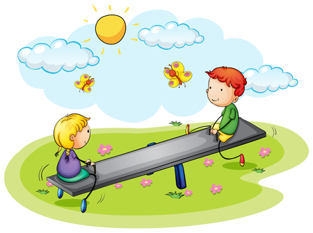 Two kids playing on seesaw in the park illustration