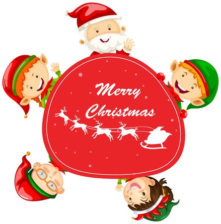 elves: Christmas card template with Santa and elves illustration Illustration