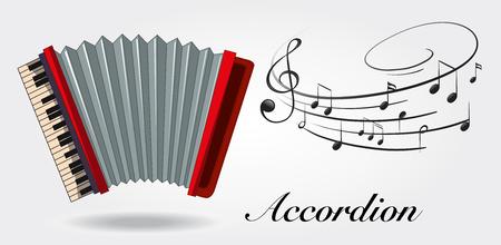 Fisarmonica e note di musica su sfondo bianco illustrazione