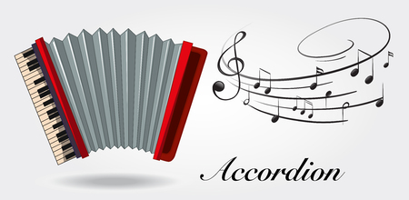 Accordion and music notes on white background illustration