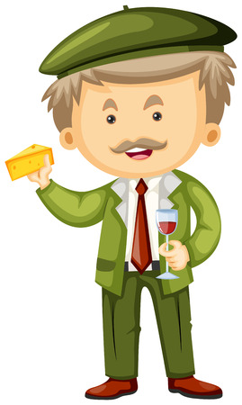 frenchman: Frenchman with cheese and wine in hands illustration