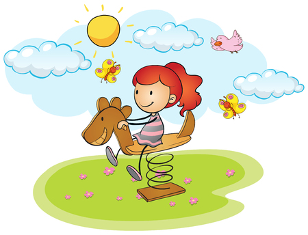children playground: Little girl playing on rocking horse illustration Illustration