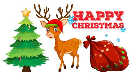 picture card: Christmas theme with reindeer and christmas tree illustration