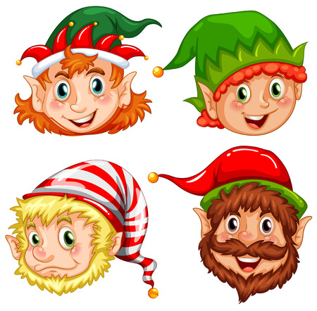 elves: Four characters of Christmas elves illustration