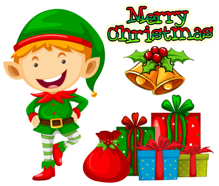 religious backgrounds: Christmas elf and christmas presents illustration