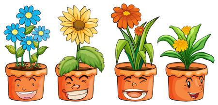 花のイラストの 4 つの鍋