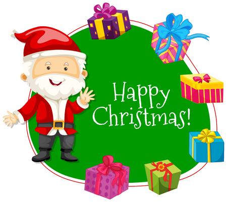 gift season: Christmas card template with Santa and presents illustration Illustration