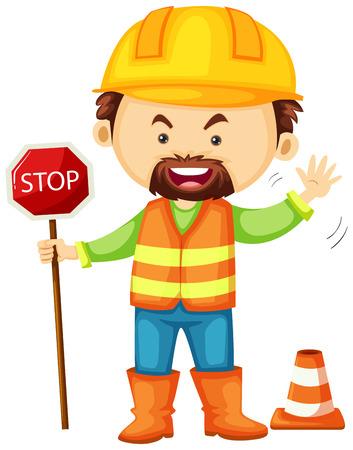 Road worker holding stop sign illustration