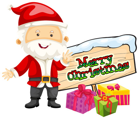 picture card: Christmas theme with Santa and christmas presents illustration