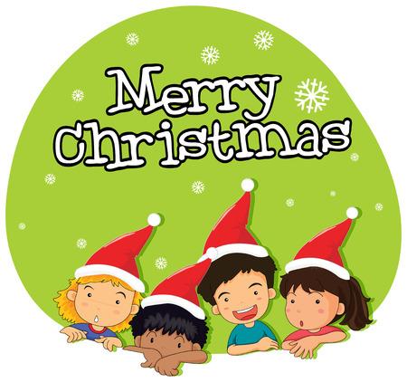 infancia: Tema de la Navidad con los niños en la ilustración sombrero rojo Vectores