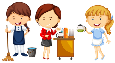 Women doing different kinds of jobs illustration