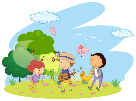 kids outside: People playing music in garden illustration