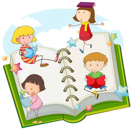 storybook: Children reading books together illustration