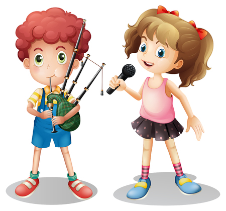 bagpipe: Boy playing bagpipe and girl singing illustration