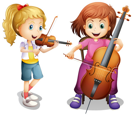 Girls playing violin and cello illustration