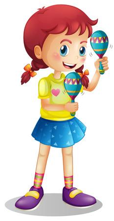 adolescent girl: Happy girl playing maracus illustration