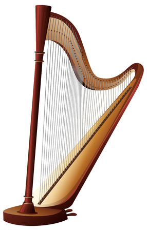 Classical harp with strings illustration Illustration