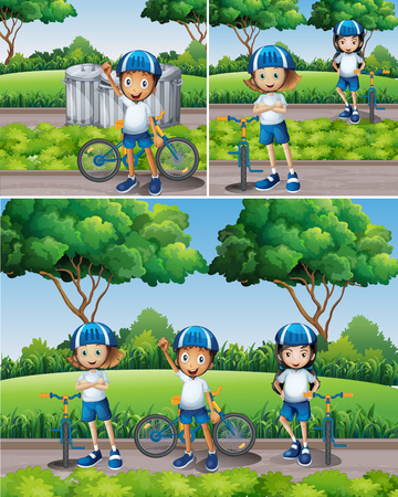 child drawing: Boys and girls riding bike in garden illustration