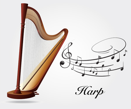 woodwind: Harp and music notes illustration