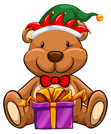 religious backgrounds: Christmas theme with bear and gift illustration Illustration