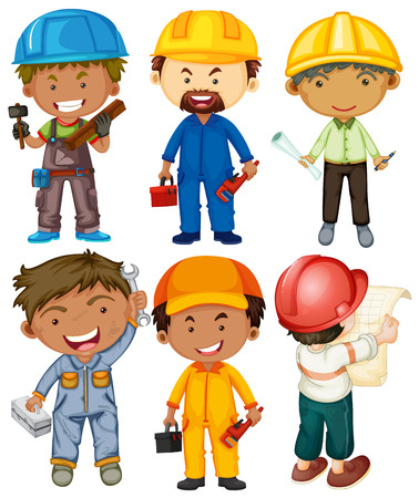 jobs people: People doing different types of jobs illustration