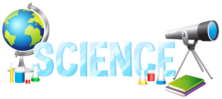 Font design with word science illustration