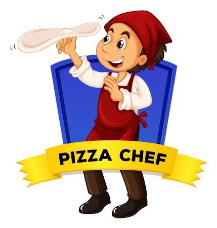 pizza chef: Label design with pizza chef illustration