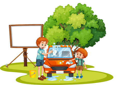 Dad and son washing car on the lawn illustration