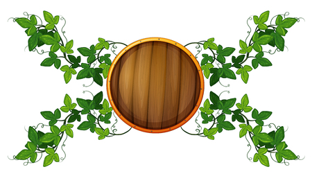 wooden circle: Label template with round wooden shield and vine illustration