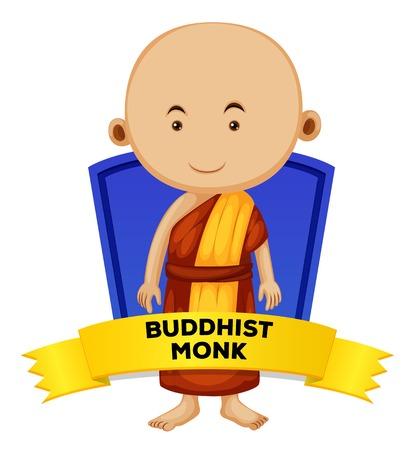 buddhist monk: People wordcard with buddhist monk illustration Illustration