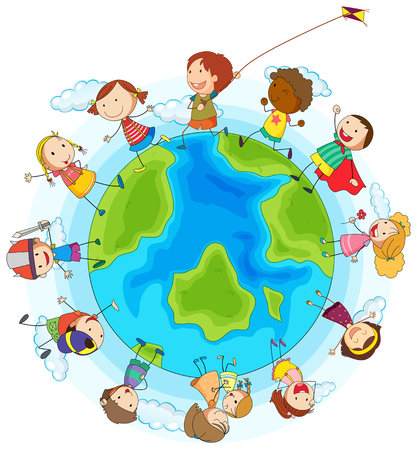 boys playing: Boys and girls playing around the world illustration