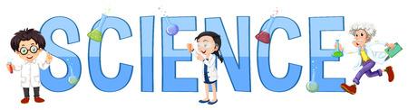 font design: Font design with word science illustration