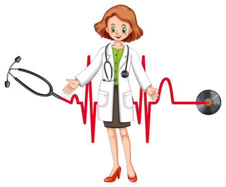 Doctor con el estetoscopio y la ilustración latidos del corazón