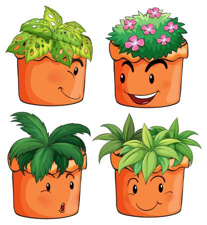 pot leaf: Flower pots with different types of plants illustration