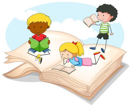 storybook: Three kids reading storybook illustration