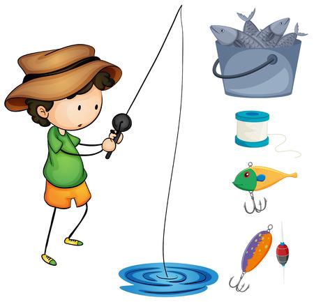 kid illustration: Boy fishing and fishing items illustration